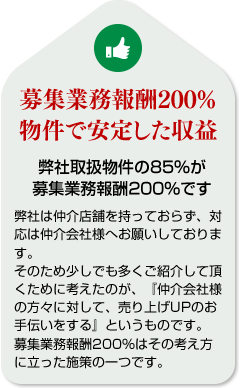 募集業務報酬200%物件で安定した収益